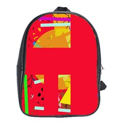 Red abstraction School Bags (XL)