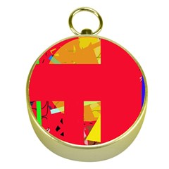 Red abstraction Gold Compasses