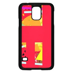 Red abstraction Samsung Galaxy S5 Case (Black)