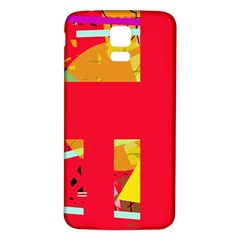 Red abstraction Samsung Galaxy S5 Back Case (White)