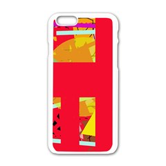 Red abstraction Apple iPhone 6/6S White Enamel Case