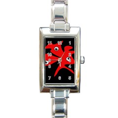 Red amoeba Rectangle Italian Charm Watch