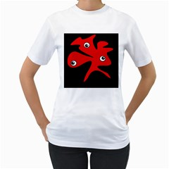 Red amoeba Women s T-Shirt (White) (Two Sided)