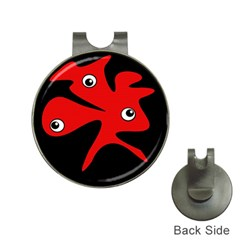 Red amoeba Hat Clips with Golf Markers