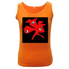 Red amoeba Women s Dark Tank Top