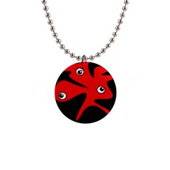 Red amoeba Button Necklaces