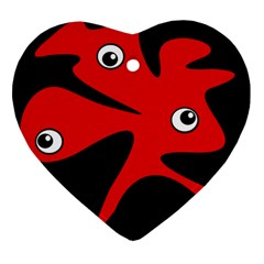 Red amoeba Heart Ornament (2 Sides)
