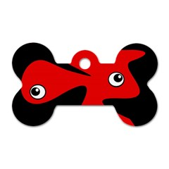 Red amoeba Dog Tag Bone (One Side)