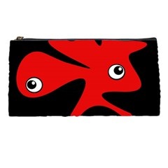 Red amoeba Pencil Cases