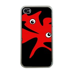 Red amoeba Apple iPhone 4 Case (Clear)