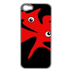 Red amoeba Apple iPhone 5 Case (Silver)