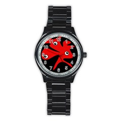 Red Amoeba Stainless Steel Round Watch