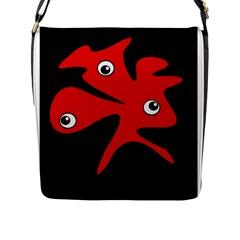 Red amoeba Flap Messenger Bag (L)