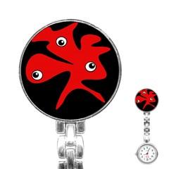 Red amoeba Stainless Steel Nurses Watch