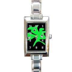 Green amoeba Rectangle Italian Charm Watch