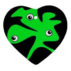 Green amoeba Ornament (Heart)