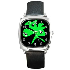 Green amoeba Square Metal Watch