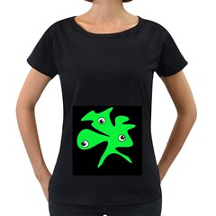 Green amoeba Women s Loose-Fit T-Shirt (Black)