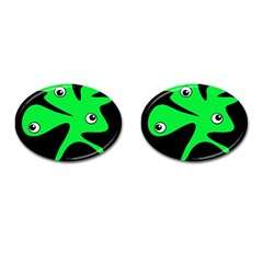 Green amoeba Cufflinks (Oval)