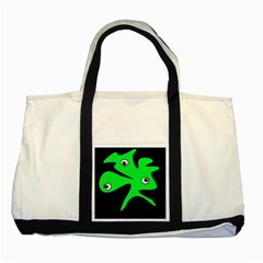 Green amoeba Two Tone Tote Bag