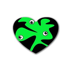 Green amoeba Heart Coaster (4 pack)