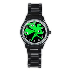 Green amoeba Stainless Steel Round Watch