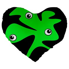 Green amoeba Large 19  Premium Flano Heart Shape Cushions