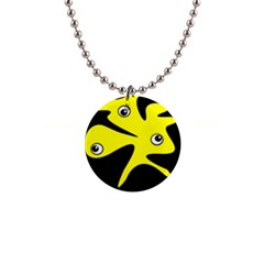 Yellow amoeba Button Necklaces
