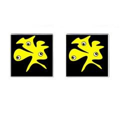 Yellow amoeba Cufflinks (Square)