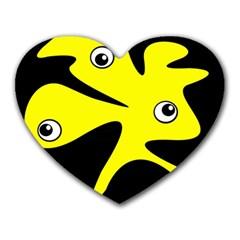 Yellow amoeba Heart Mousepads