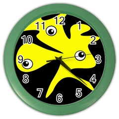 Yellow amoeba Color Wall Clocks