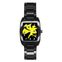 Yellow amoeba Stainless Steel Barrel Watch