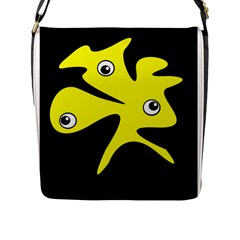 Yellow amoeba Flap Messenger Bag (L)