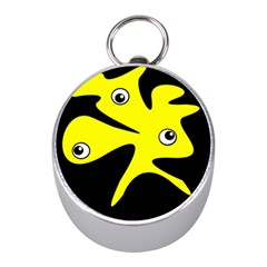 Yellow amoeba Mini Silver Compasses