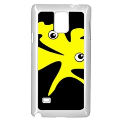 Yellow amoeba Samsung Galaxy Note 4 Case (White)