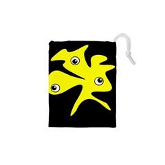 Yellow amoeba Drawstring Pouches (XS)