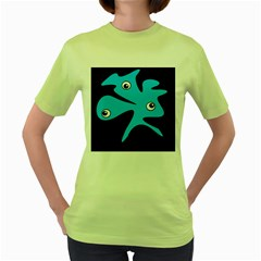 Blue amoeba Women s Green T-Shirt