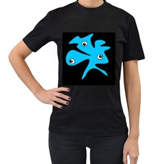 Blue amoeba Women s T-Shirt (Black) (Two Sided)