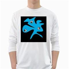 Blue amoeba White Long Sleeve T-Shirts