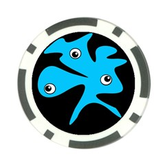 Blue amoeba Poker Chip Card Guards