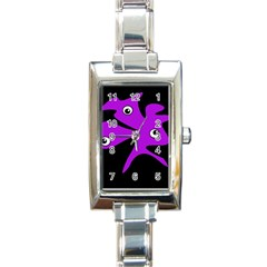 Purple amoeba Rectangle Italian Charm Watch