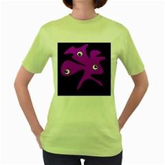 Purple amoeba Women s Green T-Shirt