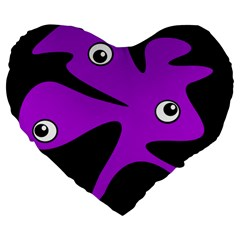 Purple amoeba Large 19  Premium Flano Heart Shape Cushions