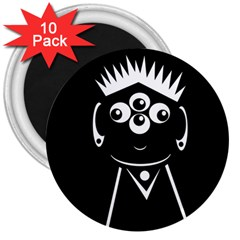 Black and white voodoo man 3  Magnets (10 pack)