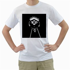 Black and white voodoo man Men s T-Shirt (White) (Two Sided)