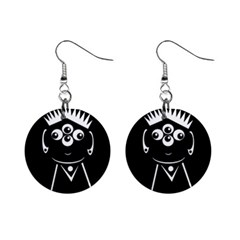 Black and white voodoo man Mini Button Earrings