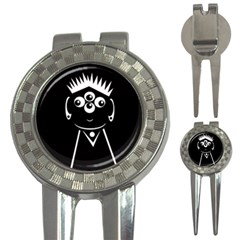 Black and white voodoo man 3-in-1 Golf Divots