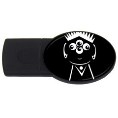 Black and white voodoo man USB Flash Drive Oval (2 GB)