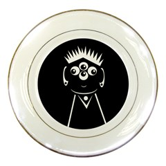 Black and white voodoo man Porcelain Plates