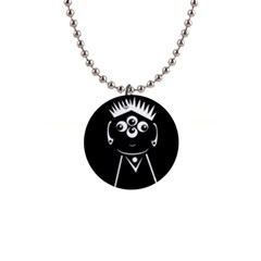 Black and white voodoo man Button Necklaces